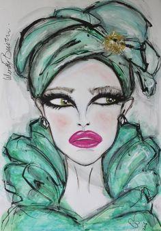 "Saatchi Art Artist Wendy Buiter; Painting, ""Green Organza 100x70"" #art"
