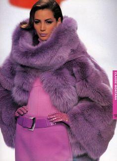 Picture of Christy Turlington Purple Fashion, Fur Fashion, Fashion Week, Winter Fashion, Womens Fashion, Purple Love, All Things Purple, Shades Of Purple, 50 Shades