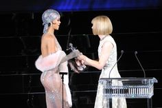 The CFDA Awardss 2014: Rihanna's Sheer Fishnet Swarvoski Crystal Adam Selman Dress