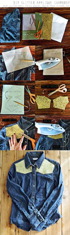 DIY Glitter Applique Chambray Shirt