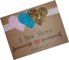 heart gold pink and teal  glitter felt headband by abowabove