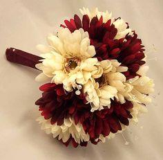Burgundy & Ivory Gerbera Crystal Posy Bouquet