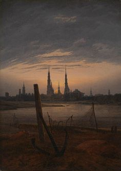 Caspar David Friedrich - City at moonrise (1817).