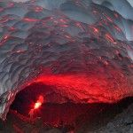 """""""captured last year by photographer Denis Budkov in an ice cave near the Mutnovsky volcano in an area of northern Russia."""""""