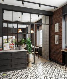 Loft Design, Home Room Design, Küchen Design, House Design, Loft Kitchen, Home Decor Kitchen, Home Kitchens, Interior Design Business, Home Interior Design