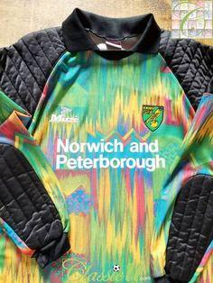 Official Mitre Norwich City goalkeeper football shirt from the season. Norwich City Football, Classic Football Shirts, Goalkeeper, Black Trim, The Past, Soccer, Store, Football, Futbol