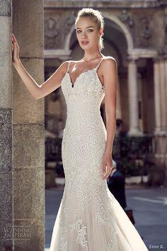 eddy k milano bridal 2017 spagetti strap v neck full embellishment gorgeous elegant mermaid wedding dress chapel train low back (md216) zv