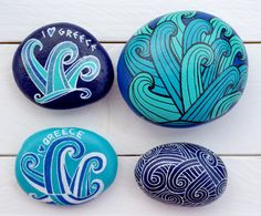 #Blue #Waves #Wave #Wellen #Welle - Painting on Stone Painted Art on Sea Stones by KYMA - website: http://kymastyle.com - shop: http://kymastyle.dawanda.com - facebook/instagram/twitter: kymastyle - contact 4 orders + infos: kymastyle@yahoo.com