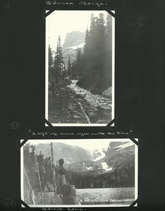 Over the course of 30 years, the Gehrkes, of Lincoln, Nebraska, spent many of their summers traveling to national parks. Margaret kept a detailed diary and Edward took thousands of photographs, which she would carefully place in scrapbooks. In the bottom photo, from 1918, Edward and Margaret stand at Odessa Lake in Rocky Mountain National Park.