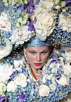 ❀ Flower Maiden Fantasy ❀ beautiful photography of women and flowers - overabundance of blue blooms