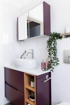 """דירת קבלן בר""""ג ארון אמבטיה בגוון סגול חציל Vanity, Bathroom, Home, Dressing Tables, Washroom, Powder Room, Vanity Set, Full Bath, Ad Home"""
