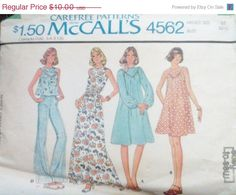 Sale Sale Sale Vintage Sewing Pattern by SewYesterdayPatterns (Craft Supplies & Tools, Patterns & Tutorials, Sewing & Needlecraft, Sewing, commercial, collectibles, sewing pattern, craft supplies, sewing supplies, mccalls pattern, vintage pattern, misses womens, 1970s pattern, 70s dress pattern, misses blouse, size 10 bust 32, misses dress pattern)