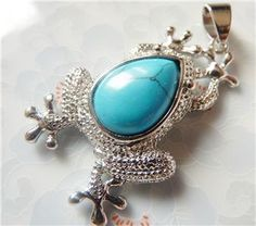 Turquoise Frog pendant bead jewelry supplies by pinksupply on Etsy, $5.50