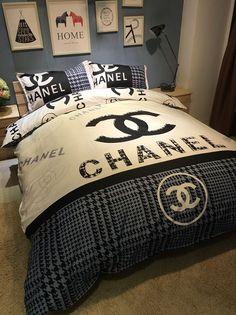 Queen size = M King size: = L 1 pcs Duvet cover 1 pcs Bed sheet 2 pcs Pillowcase Cheap shoe Chanel Bedding, Chanel Bedroom, Luxury Bedding, Bedroom Loft, Bedroom Sets, Bedrooms, Duvet Bedding, Comforter Sets, Designer Bed Sheets