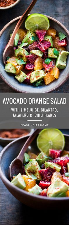 A simple delicious recipe for Blood Orange and Avocado Salad with lime juice, cilantro and chili flakes. Refreshing and healthy! | www.feastingathome.com