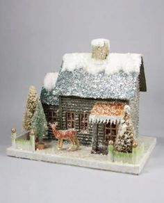 Pressed paper putz house with bottle brush trees, reindeer, and mica accents. Shop light up putz houses and Christmas villages now! Christmas Past, Rustic Christmas, Christmas Projects, Vintage Christmas, Christmas Holidays, Christmas Decorations, Christmas Glitter, Vintage Winter, Christmas Village Houses