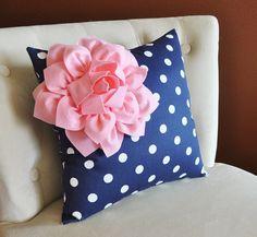 Decorative Pillow Light Pink Corner Dahlia on Navy and White Polka Dot Pillow Home Decor Nursery Decor by bedbuggs on Etsy https://www.etsy.com/listing/166990494/decorative-pillow-light-pink-corner