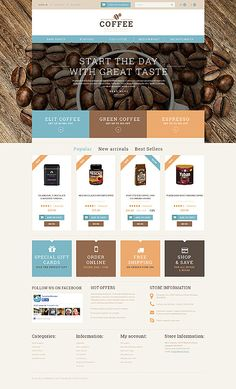 Template 51111 - Coffee House  Responsive PrestaShop  Theme