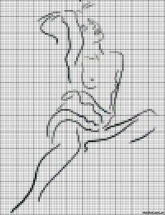 0 point de croix monochrome femme nue - cross stitch nude woman