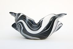 Black and White Fused Glass Draped Bowl by FusionIllusion on Etsy, $75.00