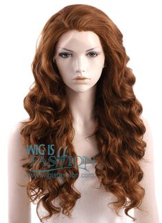 "24"" Long Curly Wavy Medium Brown Lace Front Synthetic Wig Face Framing"