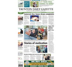 The front page of the Taunton Daily Gazette for Thursday, Aug. 28, 2014.