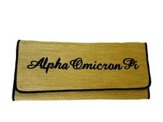 Alpha Omicron Pi Clutch Wallet Purse black by EmbroiderybyPJ