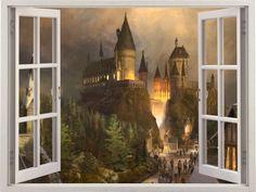 Harry Potter Hogwarts 3D-Fenster Wandaufkleber Hogwarts von Dalvars