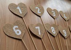 Burlap Table Numbersrustic wedding table numbers by Agitasworks