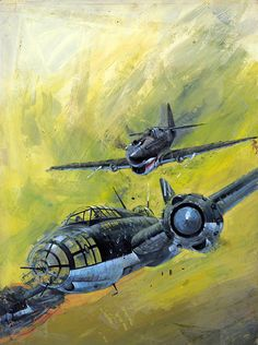 "The Bounty Hunters cover art Battle Picture Library 969 (Original) (Signed) by Graham Coton at The Illustration Art Gallery An aerial dogfight between a British Typhoon fighter and a German Heinkel bomber during World War Two. This is the original painting used for the cover of ""The Bounty Hunters"", Battle Picture Library 969 published by Fleetway Publications 1976.~ BFD"
