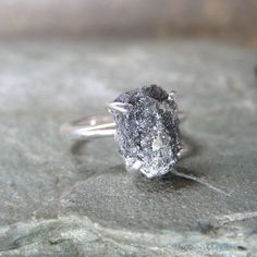 Three Carat Rough Diamond Solitaire and Sterling Silver Ring - Artisan Jewellery - Handmade and Designed by A Second Time on etsy