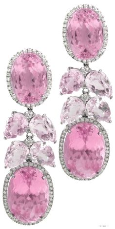 Pink Kunzite Diamond Waterfall Earrings
