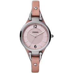 Fossil Watch, Women's Georgia Pink Leather Strap 32mm Es3076 found on Polyvore featuring polyvore, fashion, jewelry, watches, water resistant watches, black jewelry, pink face watches, black wrist watch and pink dial watches