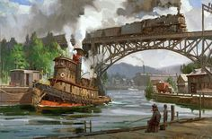 Home page for the Tutwiler Studio web- site. Recent representational fine art works of art in oil and watercolor by David and Line' Tutwiler and master Marine artist Charles Vickery Train Illustration, Vintage Illustration Art, Tug Boats For Sale, Train Drawing, Old Sailing Ships, Railroad Pictures, Train Art, Train Pictures, Steam Locomotive