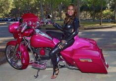 Check out our collection of pink motorcycles! Whether you love them or hate them, they do catch your eye! Lady Biker, Biker Girl, Pink Motorcycle Helmet, Custom Street Glide, Hd Motorcycles, Pink Bike, Yamaha V Star, Honda Shadow, Harley Davidson Sportster