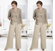 mother of the bride pant suit vestidos de novia madrinha 2019 farsali dinner cheap Mother of the Bride Dresses with lace jacket Lace Pants, Lace Jacket, Lace Dress, Mother Of The Bride Plus Size, Mother Of The Bride Gown, Mother Of The Bride Trouser Suits, Formal Wedding Guests, Queen Anne Neckline, Suit With Jacket