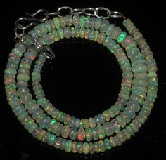 """48 Crts 1 Strands 3 to 6 mm 16"""" Beads necklace Ethiopian Welo Fire Opal  A+1622"""