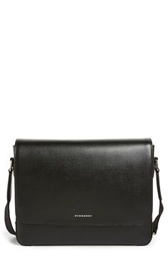 BURBERRY 'New London' Leather Messenger Bag. #burberry #bags #shoulder bags #leather #lining