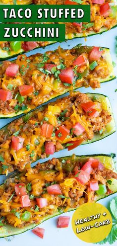 10 reviews · 60 minutes · Serves 8 · All you need are a few simple ingredients to make these Taco Stuffed Zucchini Boats! This low-carb, gluten-free meal is made with fresh zucchini that is filled with ground turkey or beef, spicy… Gluten Free Drinks, Gluten Free Recipes For Dinner, Whole 30 Recipes, Taco Stuffed Zucchini, Healthy Spring Recipes, Spring Soups, Mexican Food Recipes, Ethnic Recipes, Vegetable Sides