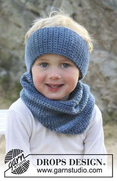 """Blue Philip - Crochet DROPS head band and neck warmer in """"Big Delight"""". - Free pattern by DROPS Design Crochet Boot Cuffs, Crochet Boots, Crochet Scarves, Crochet Clothes, Crochet For Kids, Crochet Baby, Free Crochet, Knit Crochet, Bandeau Crochet"""
