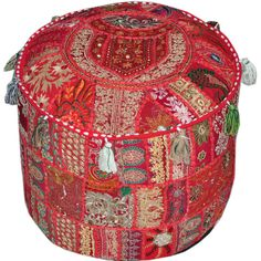 Red Bohemian pouf Ottoman Embroidered Footstool Decorative Tuffet bean... ($45) ❤ liked on Polyvore featuring home, furniture, colored bean bags, red furniture, hand made furniture, handmade furniture and studded furniture