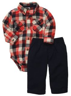 Carters Baby Boys 2pc Bodysuit Pant And Woven Shirt  Navy  12 Months ** Check this awesome product by going to the link at the image.Note:It is affiliate link to Amazon.