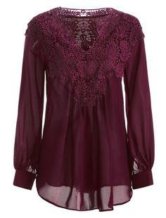 Long Sleeve Crochet Detail Blouse (Wine red)