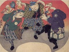 Dancing cats  | ukiyō-e woodblock print,  c. 1841 | Utagawa Kuniyoshi