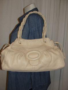 ADRIENNE VITTADINI Handbag Light Brown Beige Leather Satchel Shoulder Bag Purse…