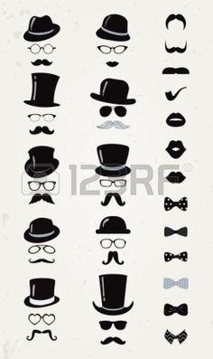 소식통 레트로 빈티지 벡터 아이콘 설정, 콧수염, 입술, 모자, 나비 넥타이와 안경 컬렉션 스톡사진 - 24684843