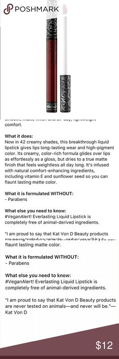 Kat Von D Vampira Liquid Lipstick Used twice, I'm trying to narrow down my makeup stash to make room for new Fall buys! Details in pic. Kat Von D Makeup Lipstick