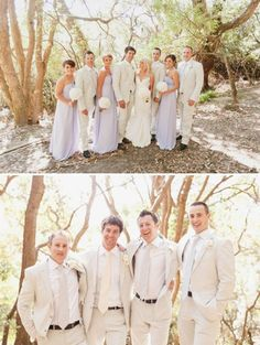 Cute grooms outfits - white, yet casual. Good for beach weddings.