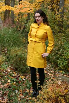 Vintage 60s Mod Yellow Shirt / Coat Dress in by StoriedVintage2, $60.00