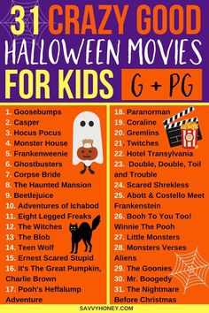 The BEST Halloween movies for kids! A Halloween movie list the whole family will enjoy! PINNING FOR LATER! These halloween movies for kids are the BEST! A list of 31 family friendly Haloween movies to enjoy the entire month of October! Halloween Tags, Halloween 2018, Halloween Movies List, Casa Halloween, Halloween Movie Night, Halloween Celebration, Halloween Activities, Family Halloween, Halloween Party Decor